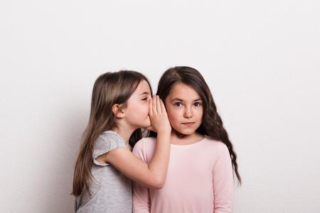 Una pequeña niña susurrando algo al oído de su amiga. Foto de archivo