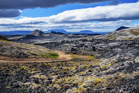 A beautiful Iceland rocky landscape in summer.