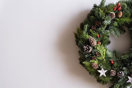 A christmas wreath on a white background.