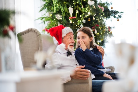 A small girl telling a secret to her grandfather with Santa hat at Christmas time. 스톡 콘텐츠
