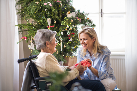 Health visitor and senior woman in wheelchair with a present at home at Christmas. Banco de Imagens