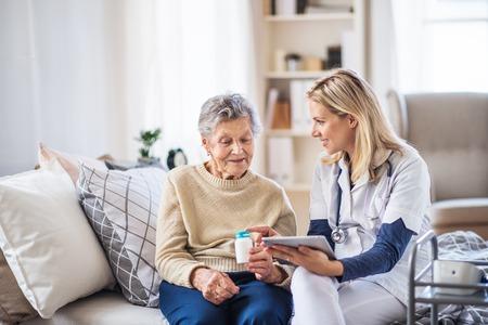 Ein Gesundheitsbesucher mit Tablet, der einer älteren Frau erklärt, wie man Pillen einnimmt. Standard-Bild