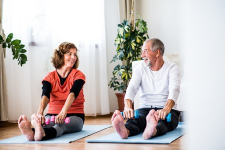 A senior couple with dumbbells doing exercise at home. Standard-Bild