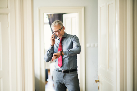 Mature businessman on a business trip standing in a hotel room, making phone call. Banque d'images - 115229422