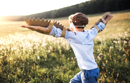 A small boy playing on a meadow in nature, with goggles and wings as if flying. 写真素材