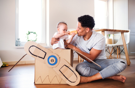 Father and small toddler son indoors at home, playing. Stock Photo