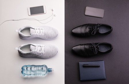 Sport and relax after office work concept. Studio shot and flat lay of male shoes.