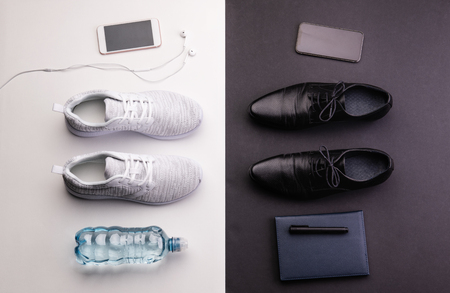 Sport and relax after office work concept. Studio shot and flat lay. 版權商用圖片