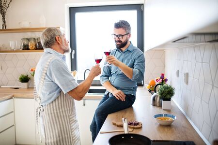 An adult hipster son and senior father indoors in kitchen at home, drinking wine. Foto de archivo