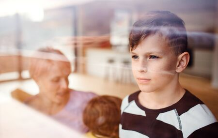 A portrait of small boy with family at home, looking out of window. Banco de Imagens