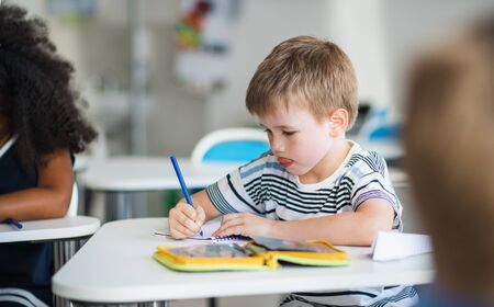 A small school boy sitting at the desk in classroom, writing.