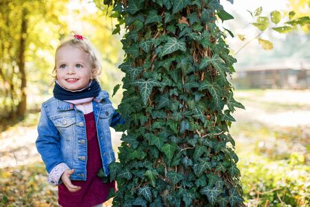 Front view portrait of a small toddler girl standing in autumn forest.