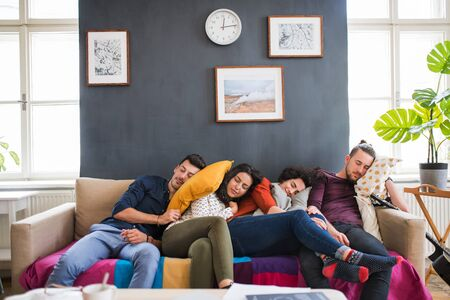 A group of young friends indoors at home, sleeping on sofa. House sharing concept.