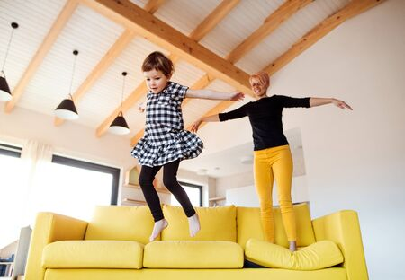 A young woman with small daughter jumping on a sofa at home.