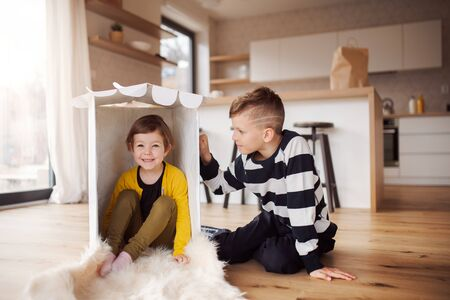 Two happy children playing indoors at home. Фото со стока