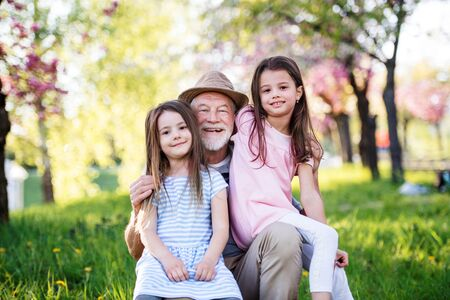 Senior grandfather with granddaugthers outside in spring nature.