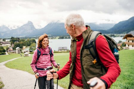 Senior pensioner couple with nordic walking poles hiking in nature, talking.