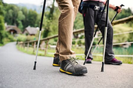 Legs of senior couple with nordic walking poles hiking in nature, midsection. Stockfoto