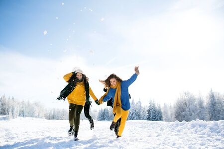 Group of young friends on a walk outdoors in snow in winter forest, having fun. Stock Photo