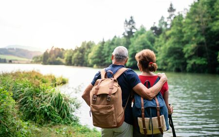 Rear view of senior tourist couple on a walk in nature, standing by lake. Stock fotó