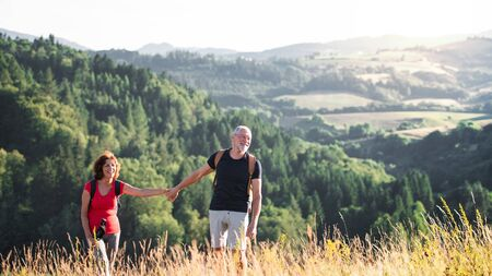 Senior tourist couple travellers hiking in nature, holding hands.