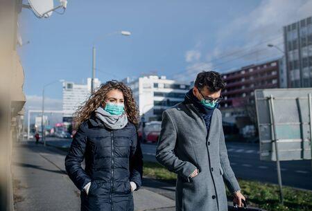 Coronavirus in city, prevention and protection concept. Foto de archivo