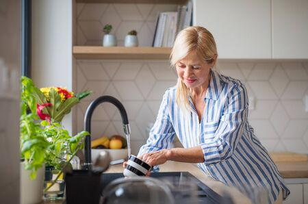 Portrait of senior woman washing dishes indoors at home. Banque d'images