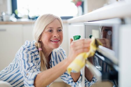 Portrait of senior woman cleaning kitchen cabinet doors indoors at home. Imagens