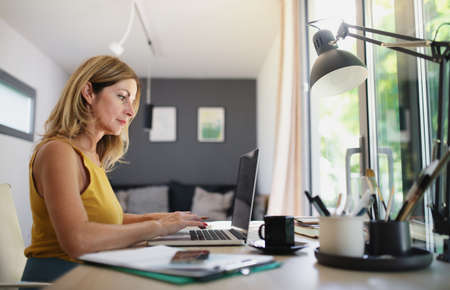 Mature woman working indoors in home office in container house in backyard. Standard-Bild