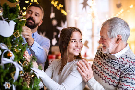 Men and woman family relatives indoors at home at Christmas, decorating tree.
