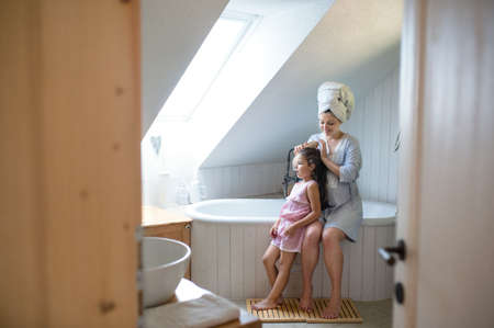 Portrait of pregnant woman with small daughter indoors in bathroom at home, brushing hair. Standard-Bild