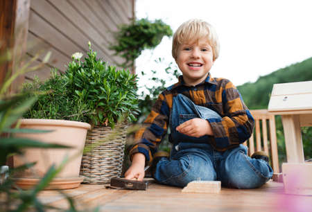 Portrait of small boy outdoors on table constructing birdhouse, diy project. Reklamní fotografie