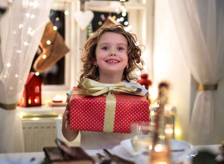 Cheerful small girl standing indoors at Christmas, holding present.