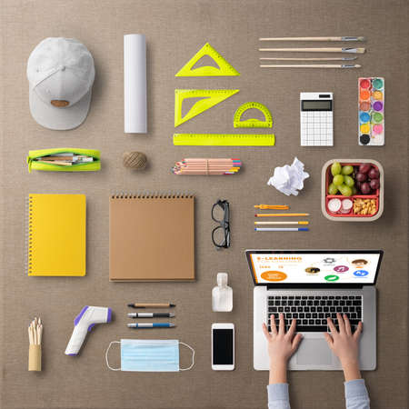 Flat lay top view of school supplies, distance learning and concept.