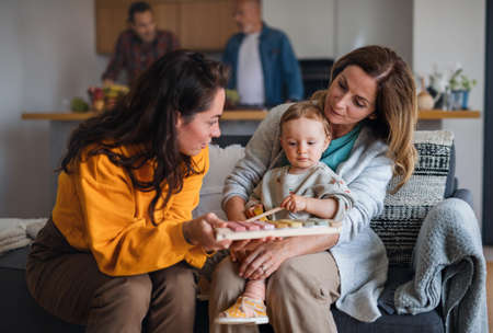 Happy multigeneration family with small baby indoors at home, visiting concept. Reklamní fotografie