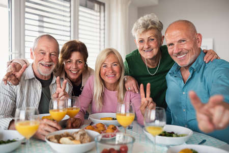 Group of senior friends having party indoors, looking at camera when eating.