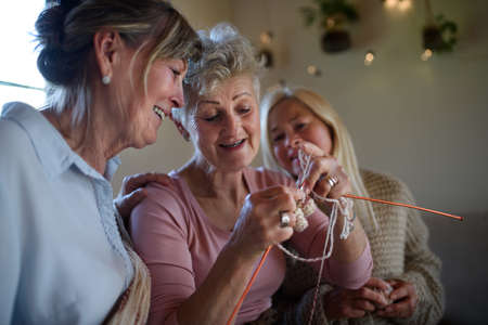 Happy senior friends having fun knitting together indoors at home. 免版税图像