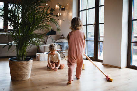 Two small children sweeping at home, daily chores concept. 스톡 콘텐츠
