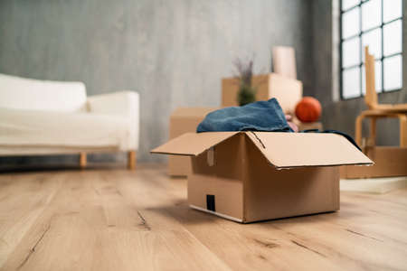 Empty living room with cardbord boxes already packed, moving home concept.