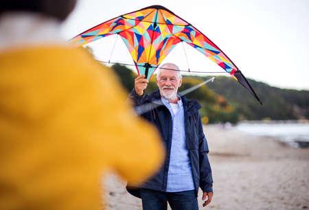 Senior man and his unrecognizable granddaughter preparing kite for flying on sandy beach.