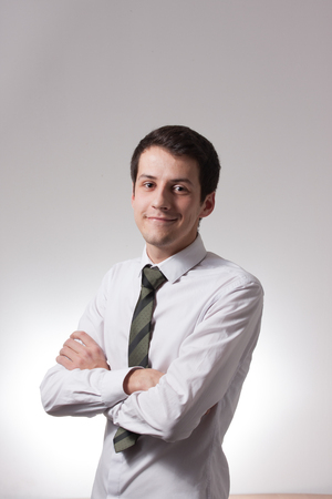 shirt: Portrait of handsome young male businessman in suit