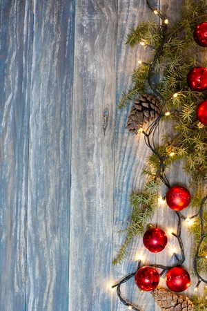 wood surface: Christmas background. planked wood with lights and free text space Stock Photo