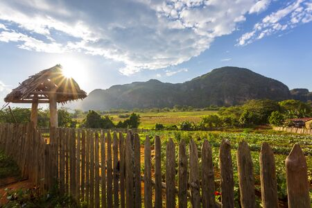Sun over Vinales Valley, UNESCO, Vinales, Pinar del Rio Province, Cuba, West Indies, Caribbean, Central America