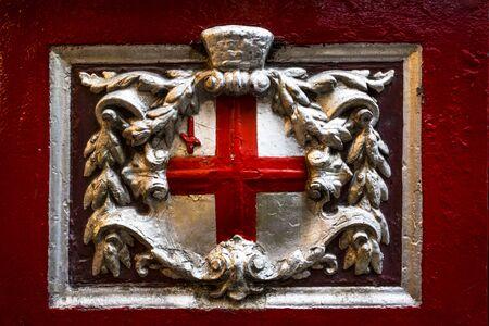 London, England - January 22 2018: The Cross of St George inside of Leadenhall Market, The City, London, England, United Kingdom, Europe 에디토리얼