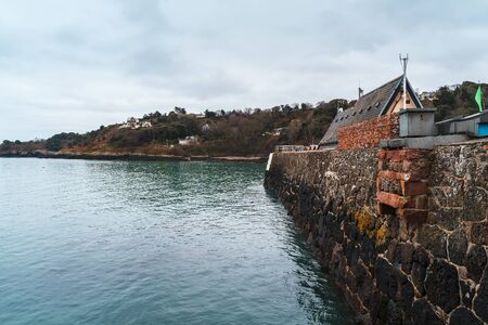Rozel harbour wall, Jersey, Channel Islands, United Kingdom Europe