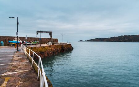 Jersey, Channel Islands - December 31 2018: Bouley Bay harbour, Jersey, U.K. 19th century small fishing port on the North of the island. Editorial