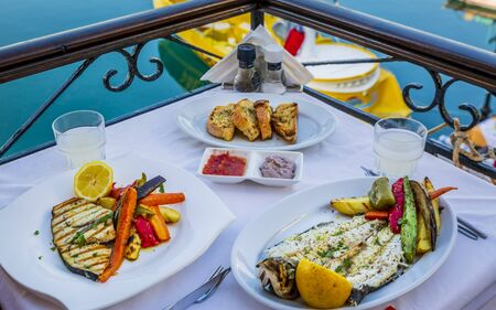 Grilled Sea Bass and grilled Swordfish, Rethymno (Rethymnon), Crete, Greek Islands, Greece, Europe