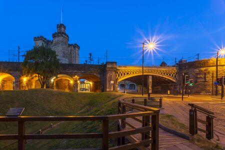 Norman era newcastle castle at night, Newcastle-upon-Tyne, Tyne and Wear, England, United Kingdom, Europe