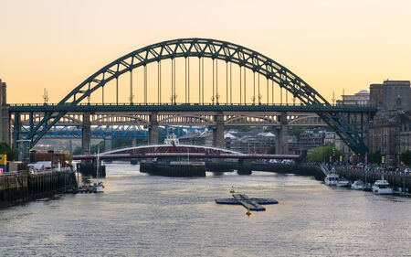 Newcastle upon Tyne skyline, Gateshead with the Tyne Bridge over River Tyne, Tyne and Wear, Tyneside, England, United Kingdom, Europe Stock Photo