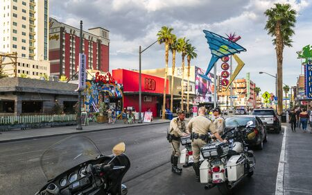 Las Vegas, USA - May 21 2018: Police on The Strip in Downtown Las Vegas, Nevada, USA, North America